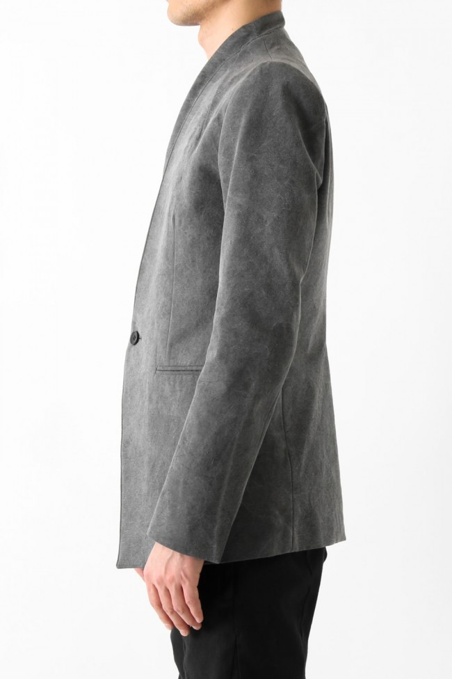Layered Collarless Tailored Jacket Gray