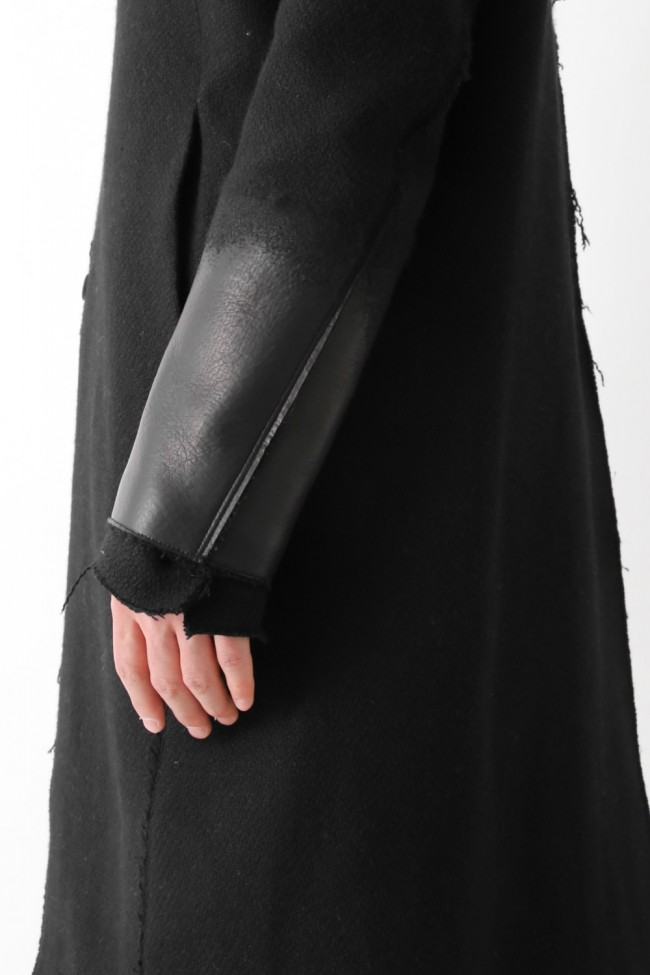 Leather Needle punch Double-breasted Coat