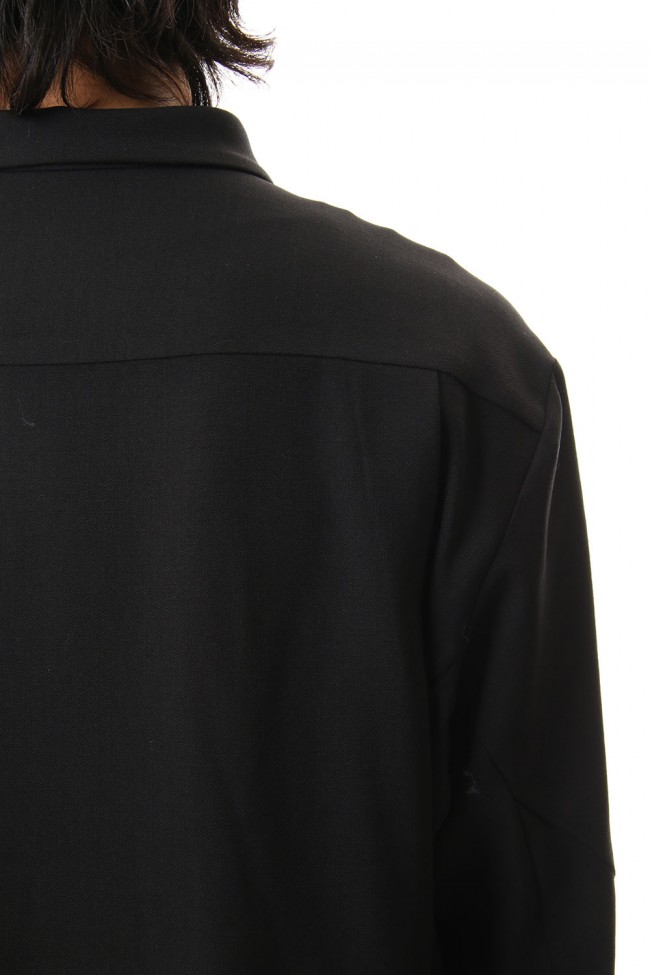 Shirt virgin wool 4way stretch Black