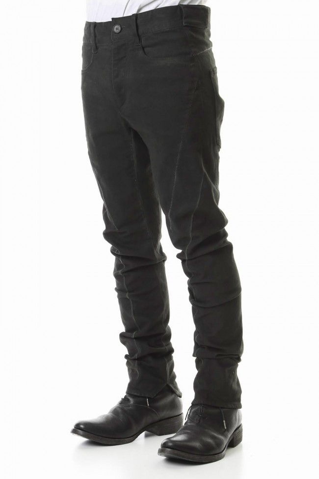 Over Cold Dyed Curve Slim Pants Charcoal Khaki