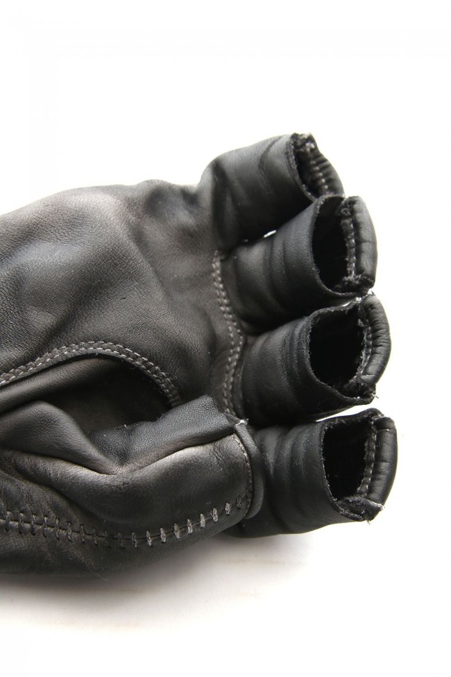 Horse leather cold dyed finger-less glove Gray - ST109-0019S