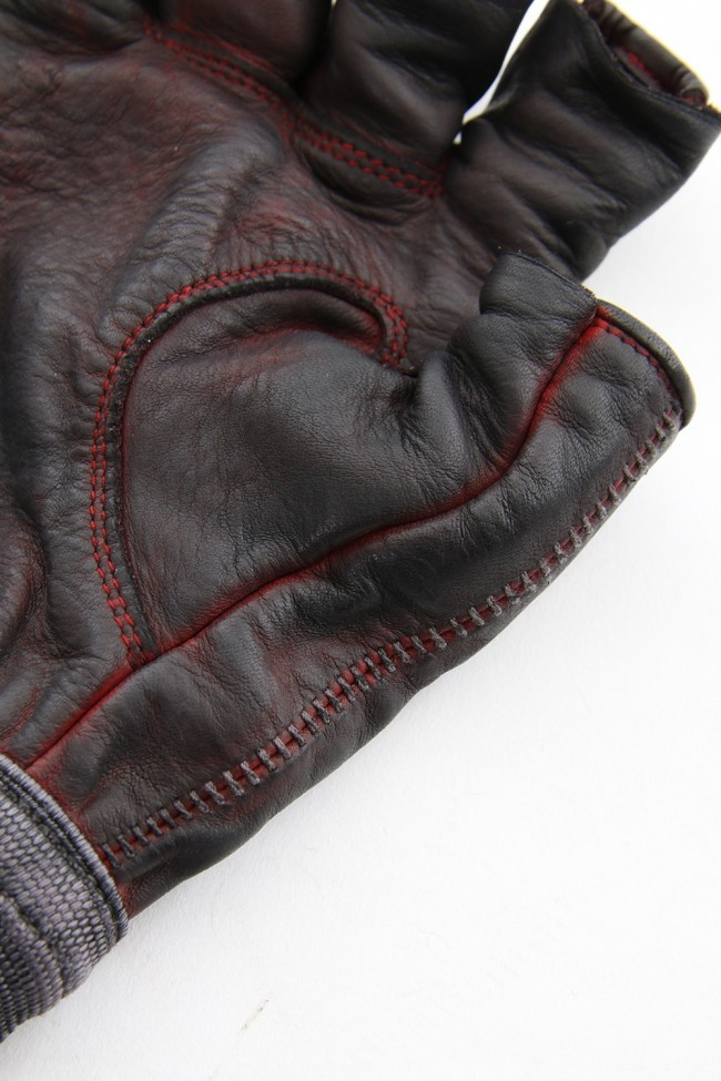 Horse leather cold dyed finger-less glove Red - ST109-0019S