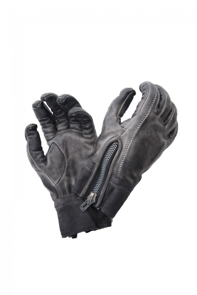 Horse leather cold dye over lock glove