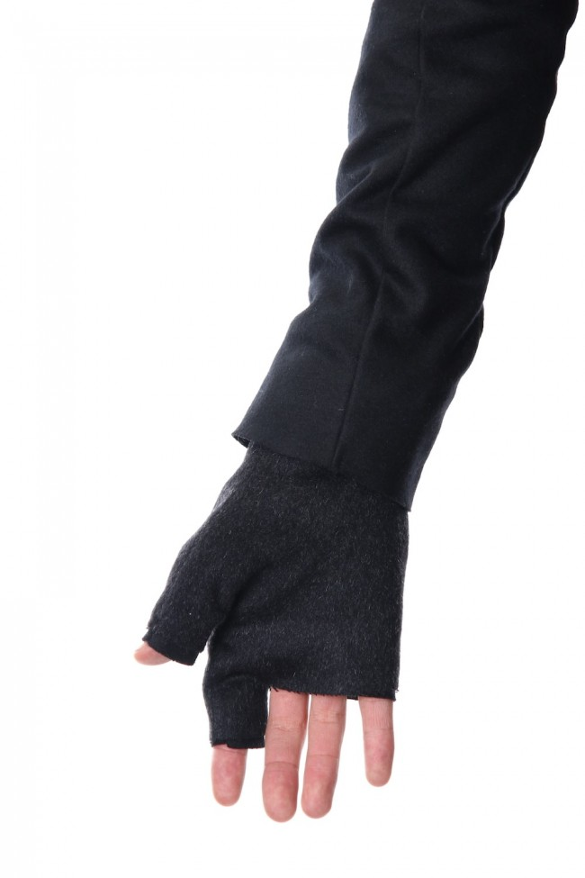 Pure cashmere needle punch fingerless glove