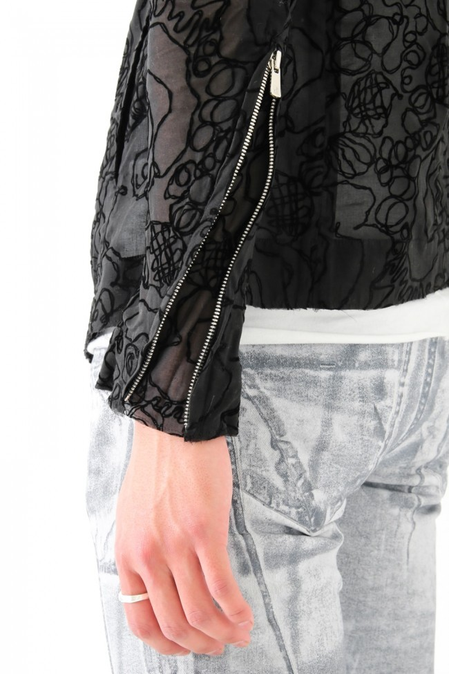 17SS Flocky bonded transparent black jacket