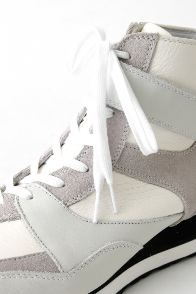 Leather High-cut Sneakers White