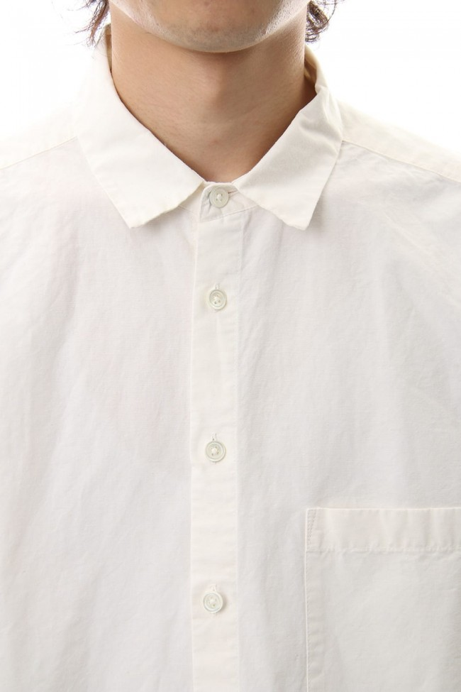 Cotton Linen Plane Shirt - White