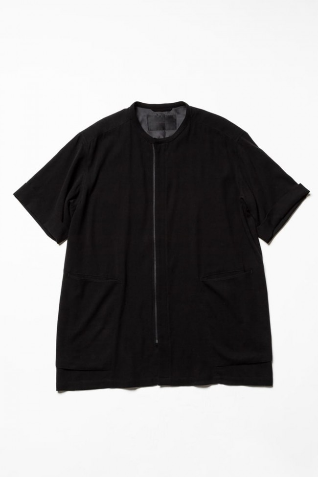 Hard twist Double weave Short sleeve shirt Black