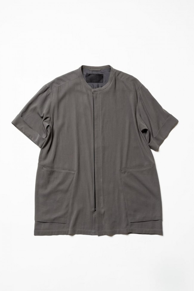 Hard twist Double weave Short sleeve shirt Gray