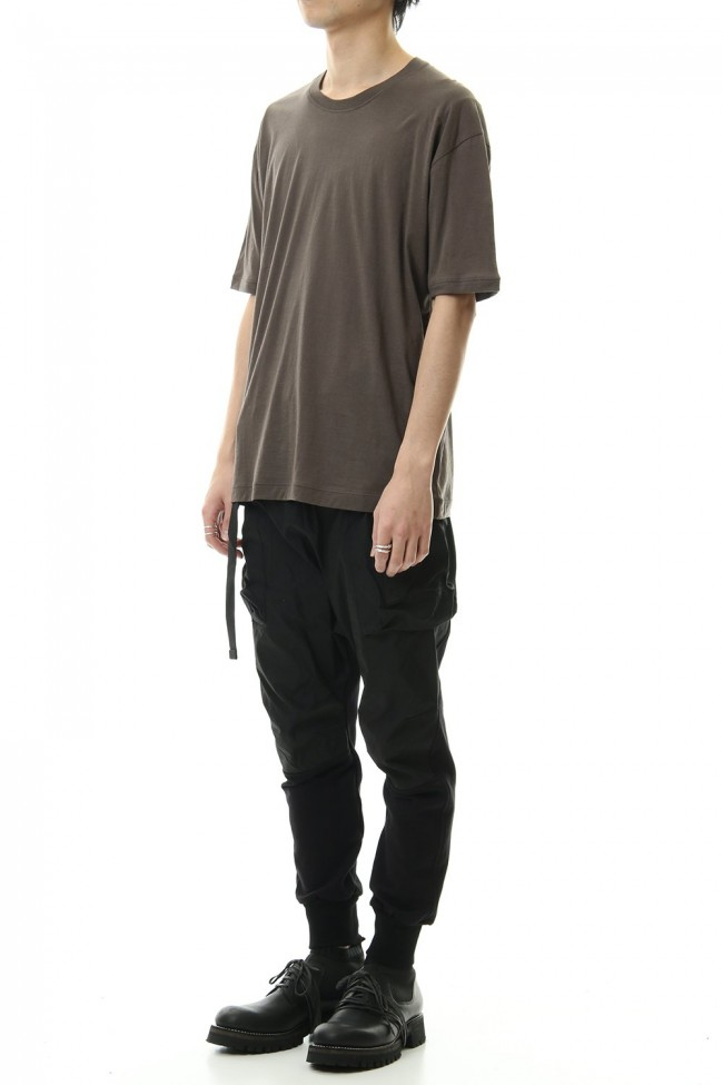Cotton cashmere Back body Line Tee Olive Drab