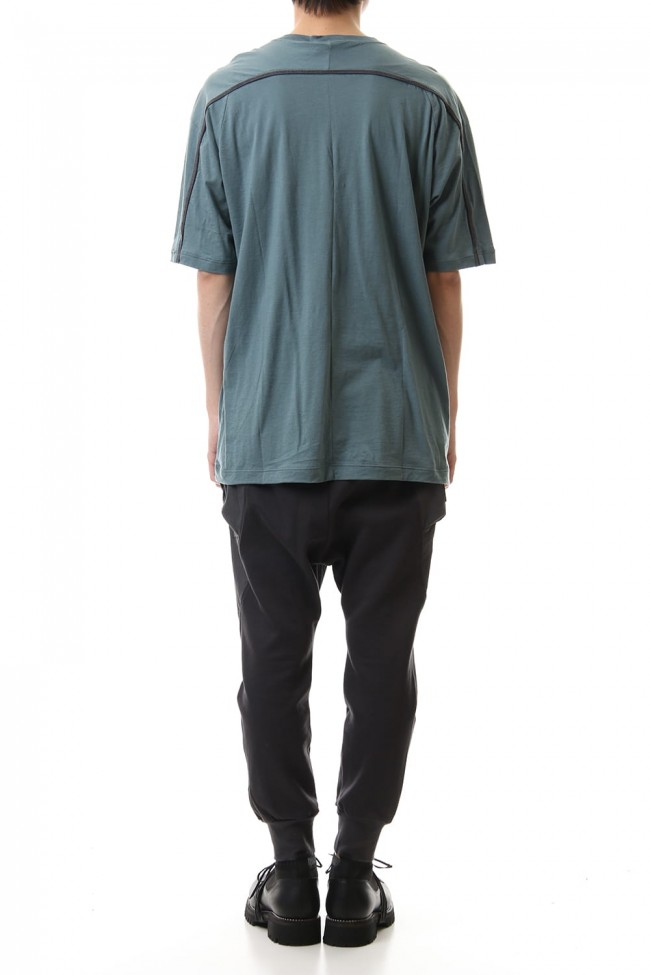 Cotton cashmere Back body Line Tee Turquoise