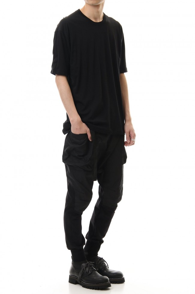 Cotton cashmere Back body Line Tee Black