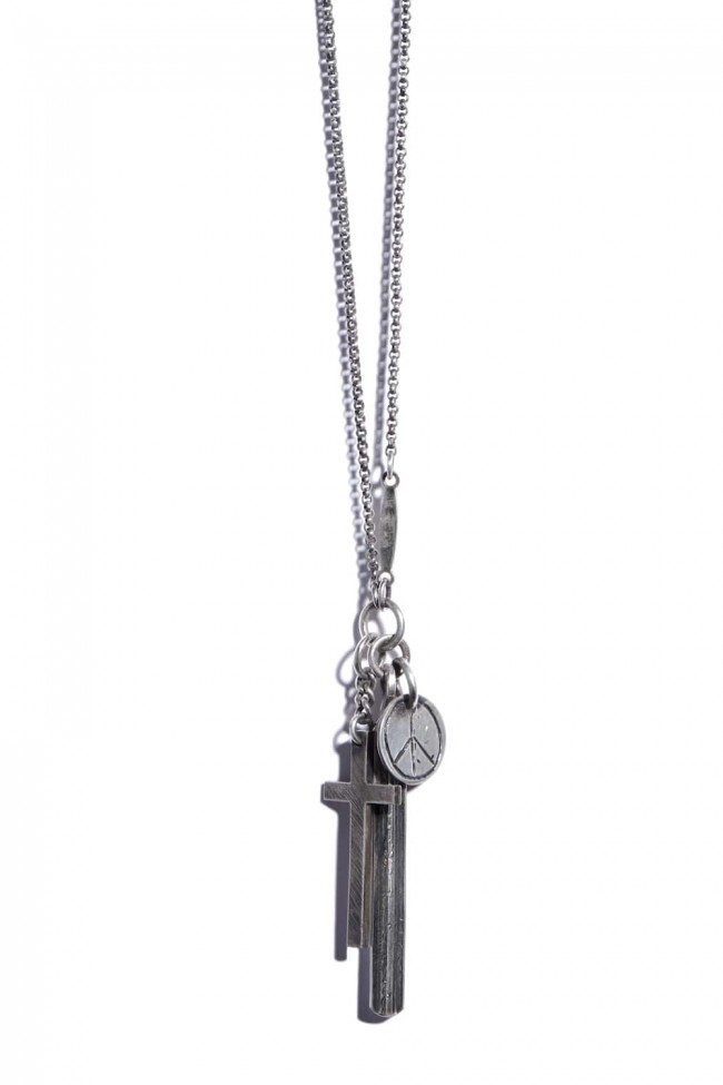Necklace Cross + Peace-Silver-FREE