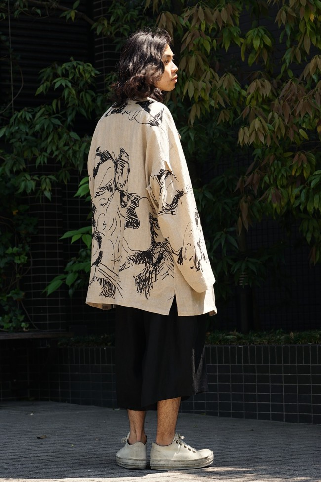 Yoke Sleeve Hemp Pattern Jacket