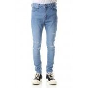 High Power Stretch Denim Damage Skinny Pants - Indigo-Indigo-28