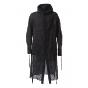 Solid Check Hooded Coat-Black-44