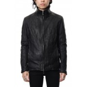 Stand collar single blouson - Black-Black-S
