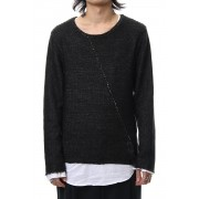 Layered Slash Knit - BLK/WHT-Black x White-1