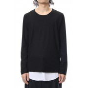 Layered Cutsew L/S - blk/wht-Black x White-1