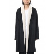 Fake Mouton Coat (LONG) - blk/ecru-Black x Ecru-Free