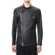 Twin Zip Leather Jacket - blk-Black-1