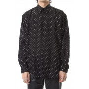 DOTPRINTEDRAYONREGULAR COLLAR SHIRT Black×White-Black x White-44