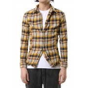 vintage check hook shirt Yellow-Yellow-S