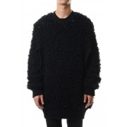 FUR ARM HOLE OVERSIZED KNIT SWEATER-Black-S