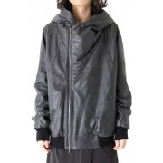Geometric Hooded Jacket-Cracking Black-1