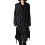 Draping Shirt Coat-Black-1
