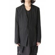 Collarless Tailored Jacket-Black-1