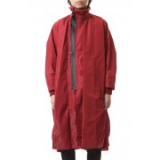OVERTUCK HIGH NECK COAT Red-Red-1