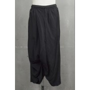 Wide cropped pants-Black-1