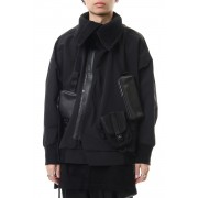 High-neck blouson Black-Black-1
