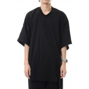 Tuck drape S/S cut&sewn-Black-1