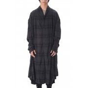 FLANNEL GOWN SHIRT-Charcoal × Black-2
