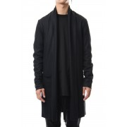 Flannerana smooth long Stole Cardigan Black-Black-1