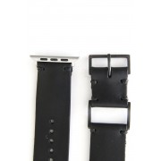 Apple Watch Band - Guidi Cordovan - Brass Type 1-Leather. Black | Buckle. Black |  Parts. Silver-38