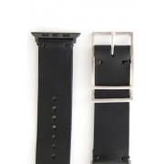 Apple Watch Band - Guidi Cordovan - Silver Type 2-Leather. Black | Buckle. Smoked silver |  Parts. S.Gray-38
