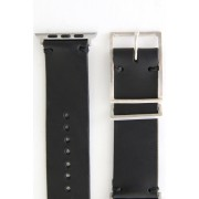 Apple Watch Band - Guidi Cordovan - Silver Type 2-Leather. Black | Buckle. Smoked silver |  Parts. Silver-38