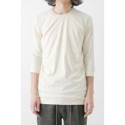Three-quater Sleeve Cut Sew 80/2 Cotton Jersey-Ecru-1