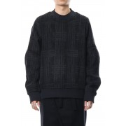 Pullover CT63 Grid Pattern Jaquard Wool Beaver Finished-Navy Black-0