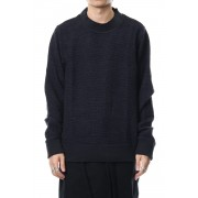 Pullover CT62 Nep & Mole Fur Stretch Border-Navy Black-0