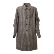 Coat Cotton ramie stripe-Cacao Stripe-1