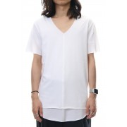 LAYERED CUTSEW V-NECK - White-White-2