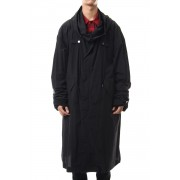 Long sleeve length Military coat-Black-2