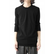 Three-quater Sleeve Cut Sew 80/2 Cotton Jersey-Black-1
