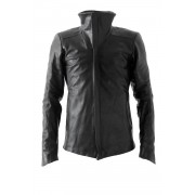 High Neck Jacket Calf Leather - Devoa-Black-1