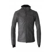 High Neck Jacket Calf Leather-Black-1