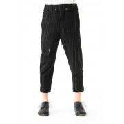 Cropped Pants Random Stripe Cotton-Black-1